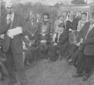 Photograph: Michael Donegan addresses the crowd who had gathered for the Seamus Ludlow Commemoration. Jimmy Sharkey stands at extreme right.